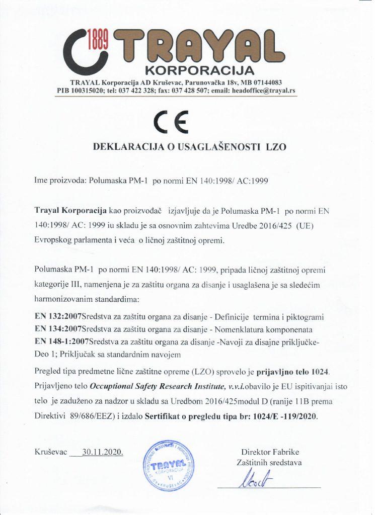 DEKLARACIJA O USAGLAŠENOSTI ZA POLUMASKU PM-1