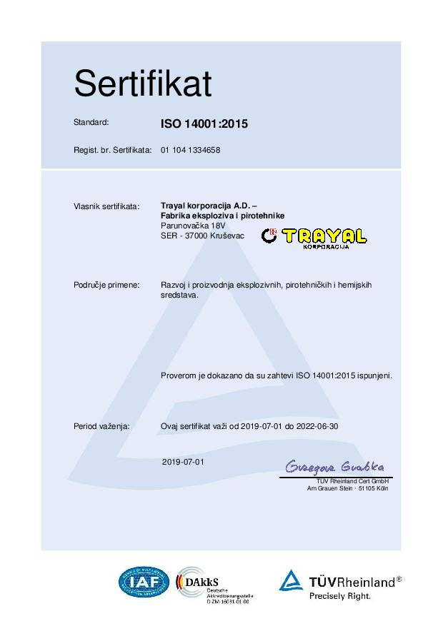 FEP Certifikat ISO 14001