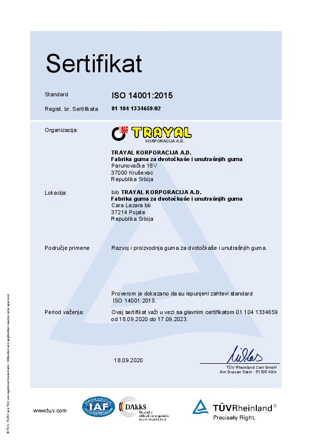 FGDUG Certifikat ISO 14001