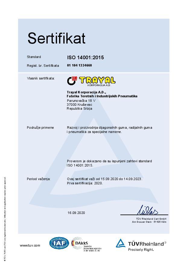 FTIP Certifikat ISO 14001