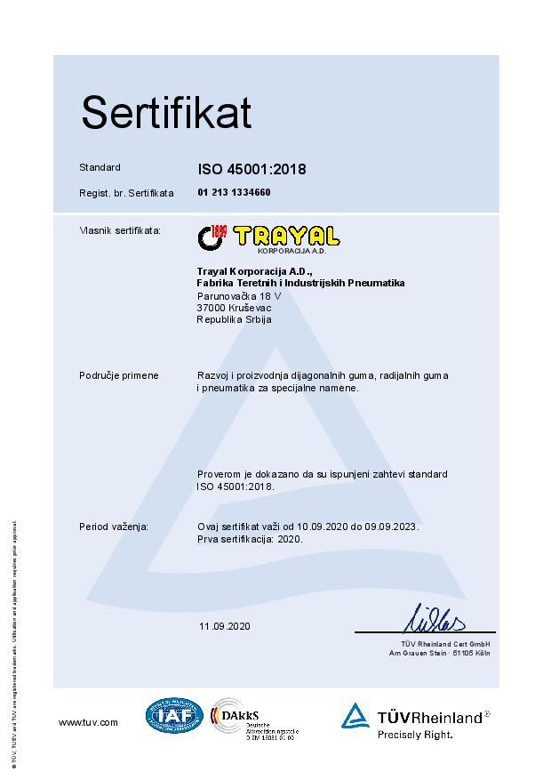 FTIP Certifikat ISO 45001