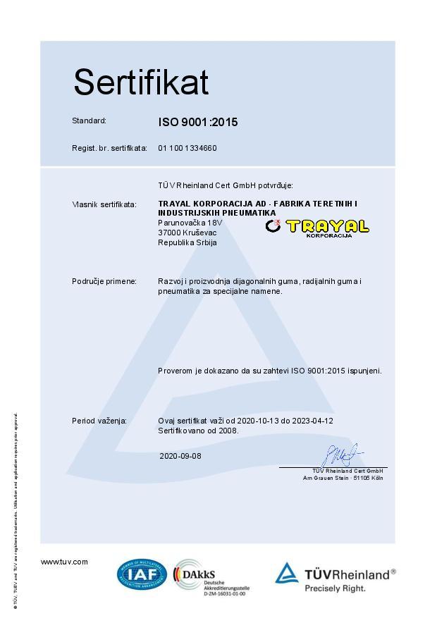 FTIP Certifikat ISO 9001