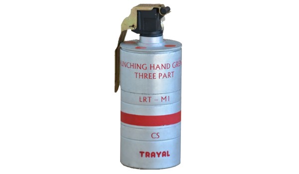 Launching-hand thrown three part grenade M1, CS